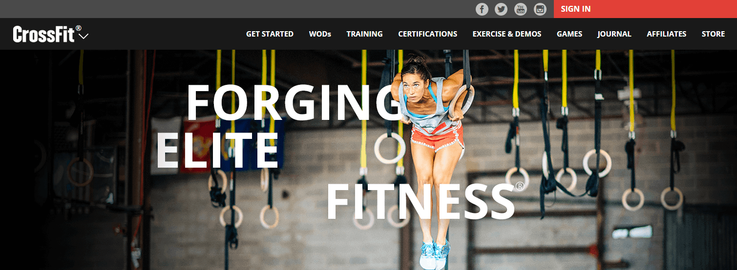 Screenshot CrossFit Website