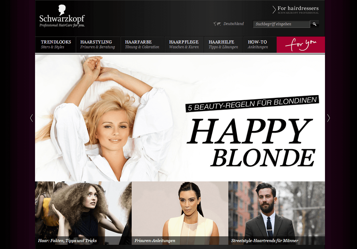 Screenshot Schwarzkopf Website