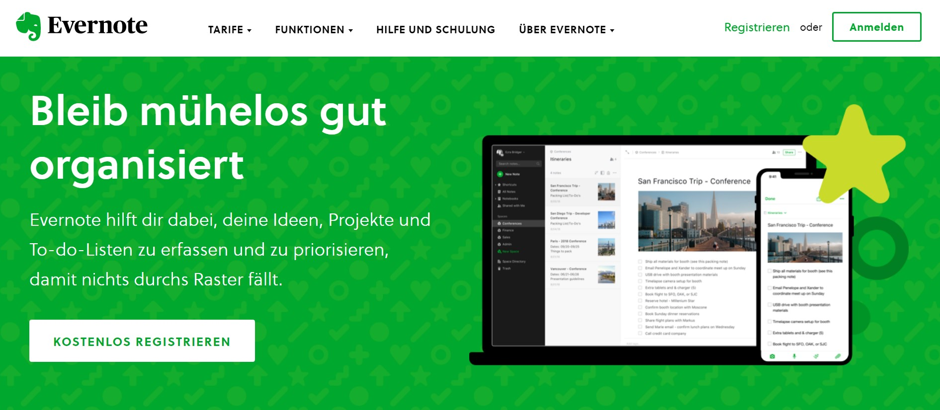 Evernote's Website Layout