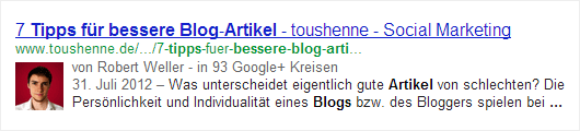 Blog Post Rich Snippet in SERPs