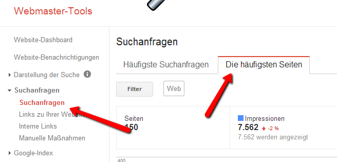 Google Webmaster Tools: Suchanfrage