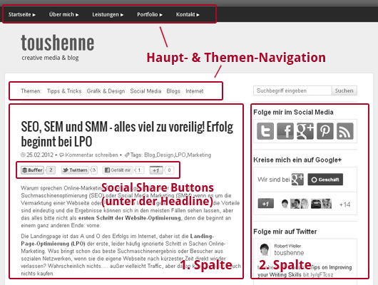 Webdesign: Die optimale Struktur eines Blogs